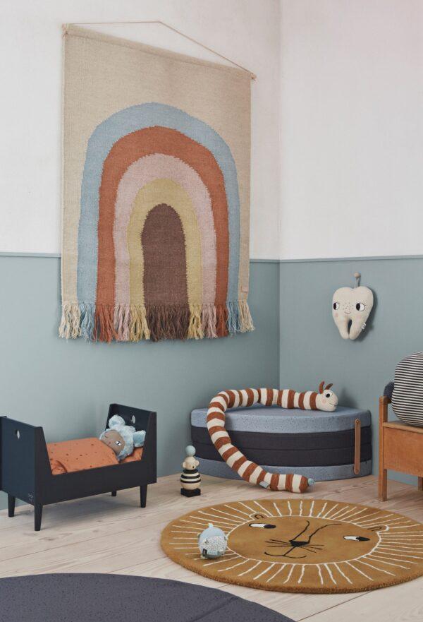 OYOY Regenbogen Wandteppich Beige Blau